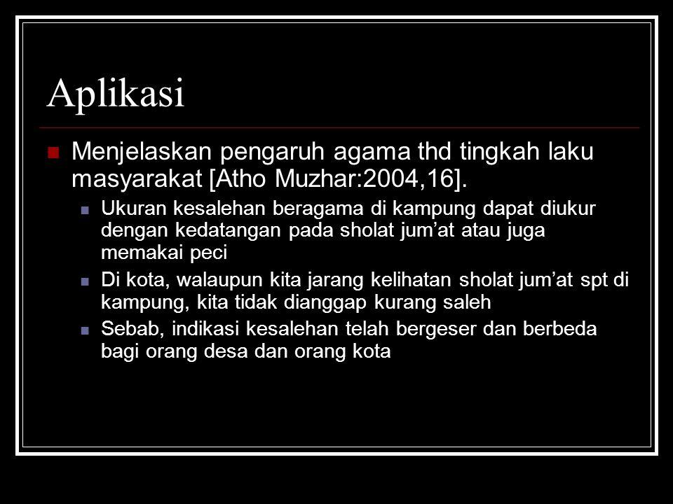 Aplikasi Menjelaskan pengaruh agama thd tingkah laku masyarakat [Atho Muzhar:2004,16].